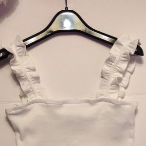 Zara Crop Top White With Ruffled Straps Size Small